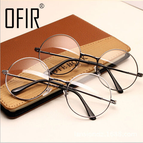 Women Vintage Glasses Frame Plain Mirror Big Round Metal Optical Frame For Girl Eyeglass Clear Lens