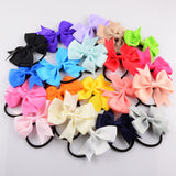 Children Ribbon Bow Elastic Hair Bands Rope Ponytail Holder Kids fabric flowers Baby Girls Hair Accessories