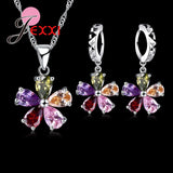 Five Petaled Flowers Shining Colorful CZ Crystal Pendant Jewelry Sets 925 Sterling Necklace + Dangle/Hoop Earring Sets