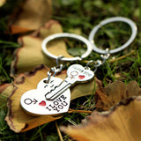 1 Pair Couple I LOVE YOU Letter Keychain Heart Key Ring Silver Plated Lovers Love Key Chain Souvenirs