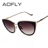 AOFLY Metal Frame Cat Eye Women Sunglasses Female Sunglasses Famous Brand Designer Alloy Legs