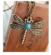 Fashion Vintage Gold Necklace Hollow Dragonfly Pendants Necklaces Jewelry Accessories