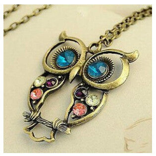 Retro Vintage Color Necklace Block Drill Hollowing Carved Cute Owl Pendant Necklace Jewelry Gift