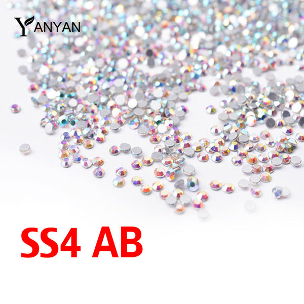 Crystal ab Nail Rhinestones,1440pcs/lot Flat Back Non Hotfix Glitter Nail Stones,DIY 3d Nail Phones Decorations Supplies