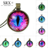 Vintage Jewelry Blue Green Cat Eye Necklace Pendant Fashion Charming Rhinestone Ethnic Necklace for Men Women