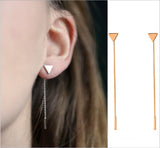 Simple Triangular Heart Geometric Metal Chain Tassels Ear Jewelry Drop Earrings Vintage Long Chain Earring