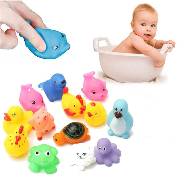 13Pcs/Set Cute Baby Bath Toys Wash Play Animals Soft Rubber Float Sqeeze Sound toy