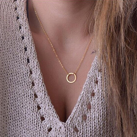 Women trendy necklaces Fashion Simple gold plated Circle Pendant choker necklace ladies short Clavicle Chain