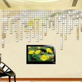New Fashion 100pcs 2x2cm Bling Acrylic 3D Wall Sticker Mosaic Mirror Effect Sofa Room Home Decor