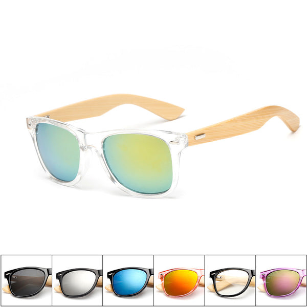 16 color Wood Sunglasses for Men or Women Square Bamboo Mirror Sun Glasses, Handmade