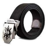 Fashion men's Canvas belt skull Metal tactics woven canvas belt Skull large size