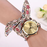 Vogue Floral Strap Wristwatch Women's Jacquard Cloth Quartz Watch Women Geneva Bracelet Watches