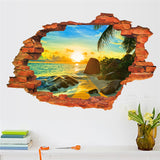 Sunshine Beach Window View Removable Wall Sticker PVC 3D through Wall decals Home Bedroom living room decor