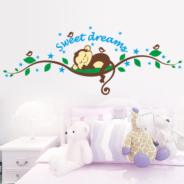 Sweet Dreaming Sleeping monkey on the trees wall stickers for kids rooms wall decal Mural Kids Nursery Bedroom Decoration