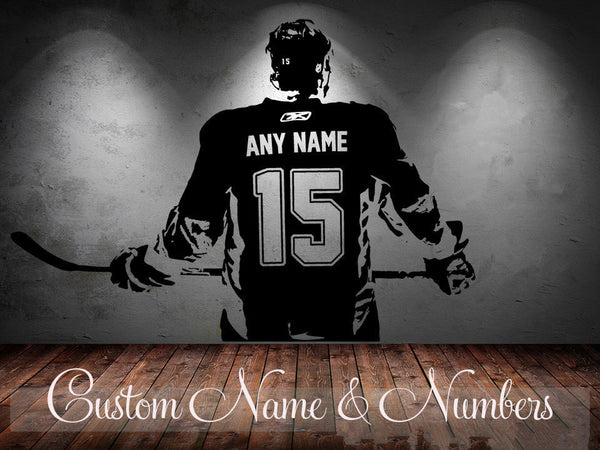 Hockey Player Wall Art Decal Sticker, choose name and number, Personalized Home Decor Wall Stickers
