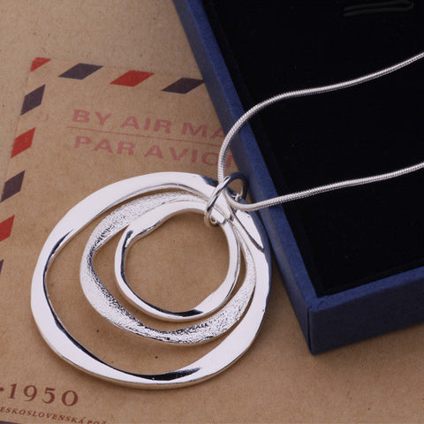 Top Quality Pure Silver Jewelry Round Circle Pendant Silver Necklace Women Accessory