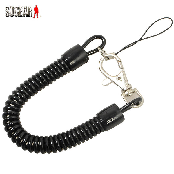 Tactical Retractable Plastic Spring Elastic Rope Security Gear Tool For Airsoft Outdoor Hiking Camping Anti-lost Phone Keychain