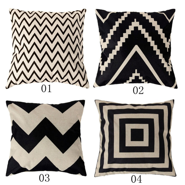 4 Types Vintage Fashion Cotton Linen Cushion Cover Throw Pillow Case
