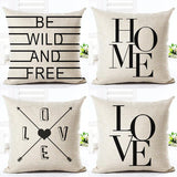 Black And White Style Decorative Cushions Simple Word Style Printed Throw Pillows Car Home Decor Cushion Decor