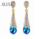 Fashion Alloy 18K Gold Plated Statement Austria Blue Crystal Long Earrings Rhinestone Water Drop Elegant Earring Jewelry