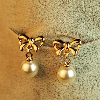 Shapeshift stud earring bow pearl earrings accessories for women