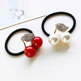 Red White Simulated Pearl Crystal Leaf Cherry Rubber Band Elastic Hair Bands Girls Hair Accessories for Women Headwear