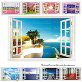 9 Styles Removable Beach Sea 3D Window Scenery Wall Sticker home Decor Decals Mural  Decal Exotic Beach View