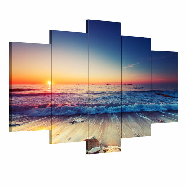5 pcs Modern wall art canvas printed painting decorative Sunset Seascape picture for Home Decor unframed panel art canvas