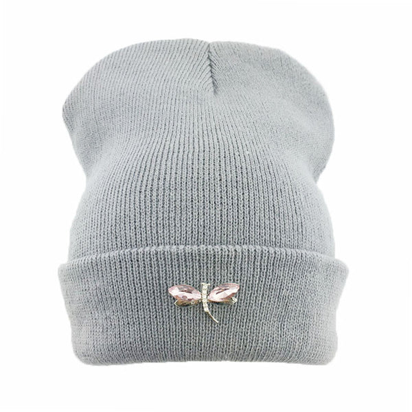 9fb1c35a6138a Dragonfly Crystal Accessory Beanie Hat For Women