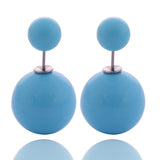 13 Colors Classic Solid Candy Colors Double Sides Big Pearl Earrings Cute Bead Ball Earrings For Women