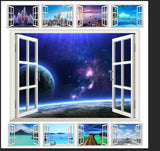 10 styles 3D Window Decal WALL STICKER Home Decor Exotic Beach View Art Wallpaper Mural