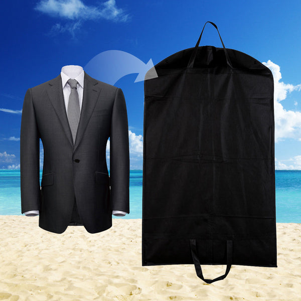 1pc Black Dustproof Hanger Coat Clothes Garment Suit Cover Storage Bags, clothes storage Case