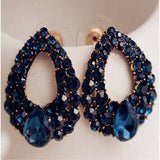 Natural stone fashion black blue big earrings jewelry gold sapphire earrings for girls summer style