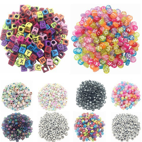 100 piece/Lot Handmade DIY Square/Round Alphabet Digital Letter Acrylic Cube for Jewelry Making Loom Band Bracelets