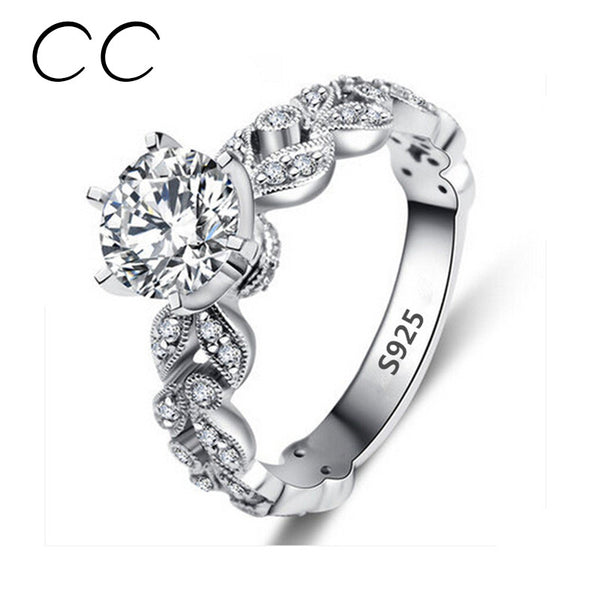 1.5 Carat Zirconia Wedding Engagement Rings For Women White Gold Plated Fashion Jewelry Female Ring