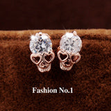 Fashion Vintage Stud Earrings CZ Diamond 18K Gold Plated Skull Stud Earrings for Women