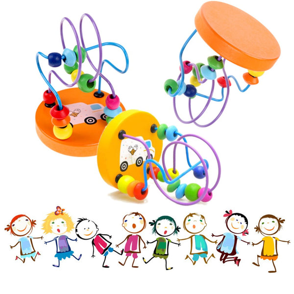 Baby Colorful Wooden Mini Around Beads Educational Kids Toys