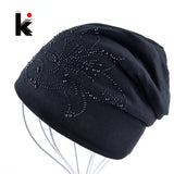 Female Beanie Bonnet Autumn And Winter Caps Hip-hop Cap Flower Rhinestone Hats For Women