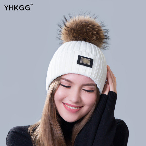 Knitted hat fashion Womens big Real Raccoon Fur pom pom Caps Crochet Hats  For Women Winter Cute Casual Cap Women Beanies