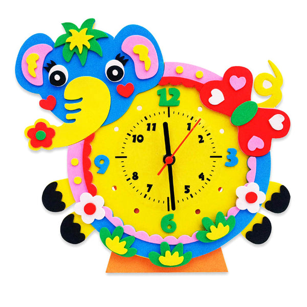 Cute Model Building Kits Handmade DIY 3D Animal Learning Clock Kids Crafts Educational Toy