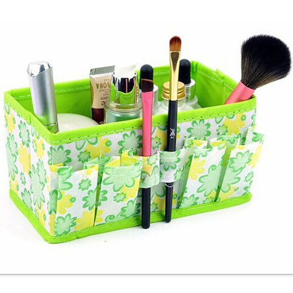 Folding Multifunction Makeup Cosmetic Storage Box Container Case Flower Print Organizer