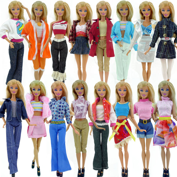 Random Pick 10 pcs/lot Doll Clothing Sets Fashionable Clothes Casual Dress Suits For Barbie Doll Dress Best Gift Baby Toys