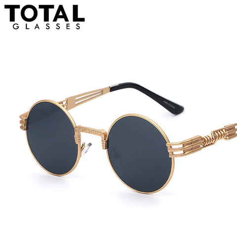 Luxury Metal Sunglasses Men Round Sunglass Steampunk Coating Glasses Vintage Retro Outdoor