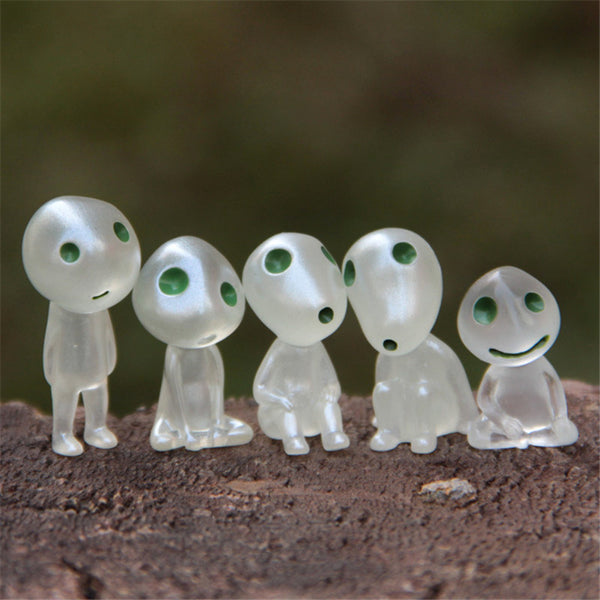 5pcs/set Luminous Tree Elves Toy Miyazaki Cartoon Princess Mononoke Action Figure Toys