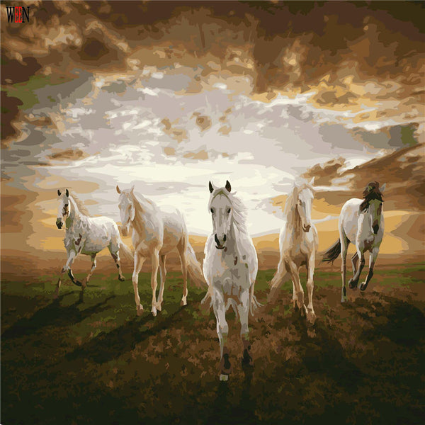 Five Horses Oil Painting Coloring By Number Home Decor DIY Hand Painted Wall Pictures By Numbers Canvas Art Poster