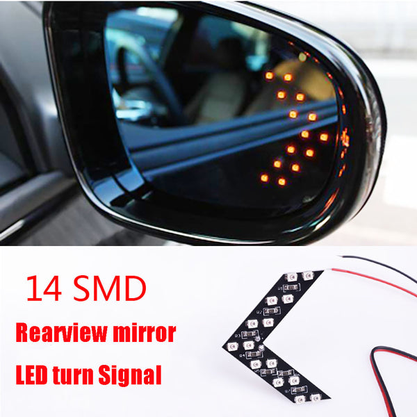 2 Pcs/lot 14 SMD LED Arrow Panel For Car Rear View Mirror Indicator Turn Signal Light Car LED Rearview mirror light AJ
