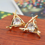 Fashion exquisite triangle piercing zircon ear stud earrings female