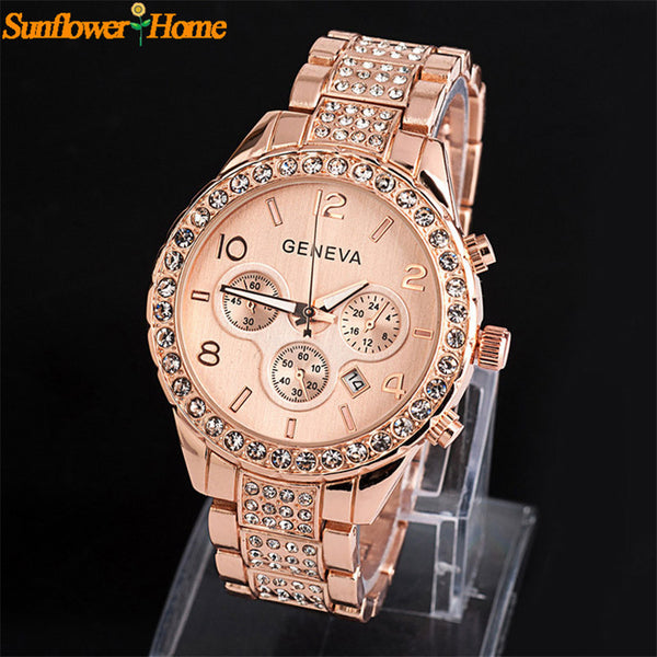 Women Rose Gold Geneva Metal Band Quartz Wrist Watch
