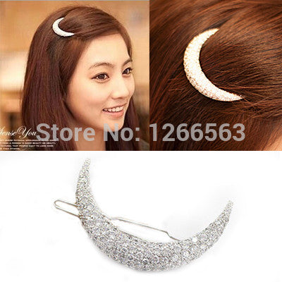 Crystal Moon Rhinestone Hair Accessories For Women, Hair Clips For Girls Headdress Hairpin Clamps