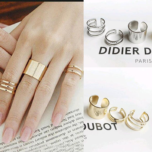 3pcs./Set. Fashion Top Of Finger Over The Midi Tip Finger Above The Knuckle Open Ring For women Fashion Jewelry